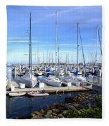 Monterey Harbor California Fleece Blanket