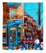 Montreal City Scene Hockey At Wilenskys Fleece Blanket
