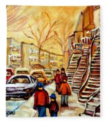 Montreal City Scene In Winter Fleece Blanket