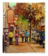 Montreal Downtown  Crescent Street Couples Walking Near Cafes And Rstaurants City Scenes Art    Fleece Blanket