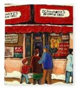 Montreal Hebrew Delicatessen Schwartzs By Montreal Streetscene Artist Carole Spandau Fleece Blanket