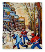 Montreal Hockey Game With 3 Boys Fleece Blanket