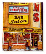 Montreal Paintings Dunns Restaurant Streets Of Montreal Fleece Blanket