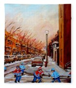 Montreal Street Hockey Game Fleece Blanket