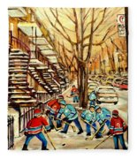 Montreal Street Hockey Paintings Fleece Blanket