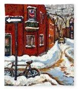 Montreal Street In Winter La Ville En Hiver Buy Montreal Paintings Petits Formats Peintures A Vendre Fleece Blanket