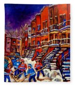 Montreal Street Scene Paintings Hockey On De Bullion Street   Fleece Blanket