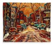 Montreal Streets In Winter Fleece Blanket