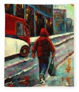 Montreal Streets Winter Morning Fleece Blanket