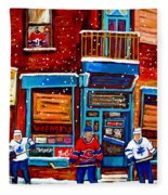 Montreal Wilensky Deli By Carole Spandau Montreal Streetscene And Hockey Artist Fleece Blanket