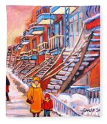 Montreal Winter Walk Fleece Blanket