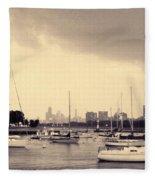 Montrose Harbor Skyline Fleece Blanket