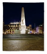 Monument On The Dam In Amsterdam Netherlands At Night Fleece Blanket