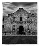 Moody Morning At The Alamo Bw Fleece Blanket