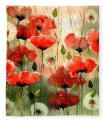 Moody Poppies In The Afternoon Fleece Blanket