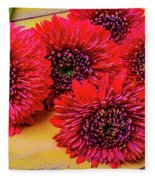 Moody Red Gerbera Dasies Fleece Blanket