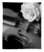 Moody Violin And Rose In Black And White Fleece Blanket