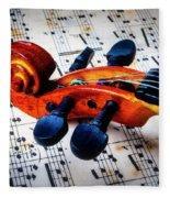 Moody Violin Scroll On Sheet Music Fleece Blanket