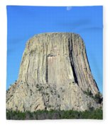 Moon And Devil's Tower National Monument, Wyoming Fleece Blanket