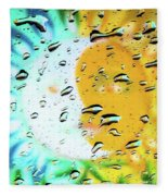 Moon And Sun Rainy Day Windowpane Fleece Blanket
