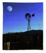 Moon And Windmill Fleece Blanket