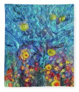 Moon Flowers Fleece Blanket