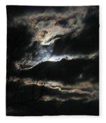 Moon In The Clouds Over Kentucky Lake Fleece Blanket