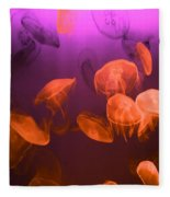 Moon Jellyfish - Red And Purple Fleece Blanket