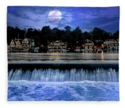 Moon Light - Boathouse Row Philadelphia Fleece Blanket