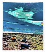Moon Lit Beach, Bray, Wicklow, Ireland, Poster Effect1b Fleece Blanket