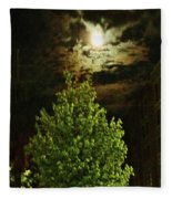 Moon On Fire Over Downtown Savannah Fleece Blanket