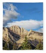 Moon Over Canmore Alberta Fleece Blanket
