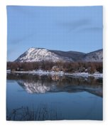 Moon Over Mont Saint Hilaire  Fleece Blanket