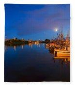 Moon Over Sitka Marina Fleece Blanket