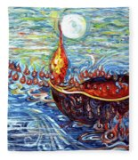 Moon Over The Ocean Fleece Blanket