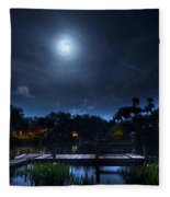 Moon Over The River Fleece Blanket