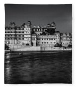 Moon Over Udaipur Bw Fleece Blanket