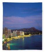 Moon Over Waikiki Fleece Blanket