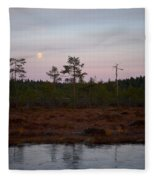 Moon Over Wetlands Fleece Blanket