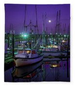 Moon Over Winchester Bay Fleece Blanket
