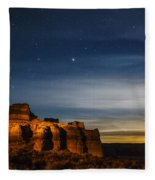 Moon Rise At Pillars Of Rome, Oregon, Usa Fleece Blanket
