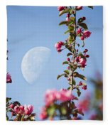 Moon Through The Crabapple Blossoms Fleece Blanket