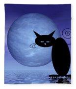 Mooncat's Loneliness Fleece Blanket