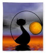 Mooncat's Waiting  Fleece Blanket