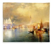 Moonlight In Venice Fleece Blanket