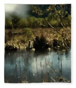 Moonlight On Canadian Lake Fleece Blanket