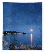 Moonlight On Mackinac Island Michigan Fleece Blanket