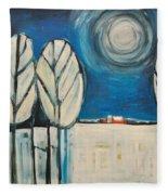Moonlight On The First Snow Fleece Blanket