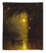Moonlit Landscape Fleece Blanket