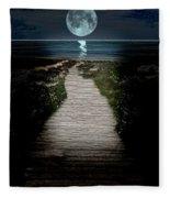 Moonlit Night At The Beach Fleece Blanket